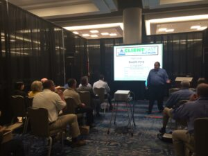 Jim presenting for his exhibitor workshop on NAIFA ClientCast and Power Session LIVE at the 2014 National Conference in San Diego